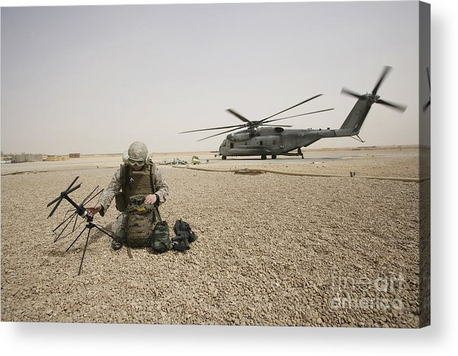 Iraq Acrylic Print featuring the photograph A Field Radio Operator Sets by Stocktrek Images