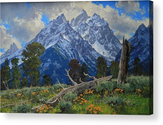 Acrylic Print featuring the painting Ancient Guardians by Lanny Grant