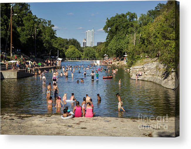 Barton Springs Pool Acrylic Print featuring the photograph Austinites Love To Lounge In The Refreshing Waters Of Barton Springs Pool To Beat The Sizzling Texas Summer Heat by Austin Welcome Center
