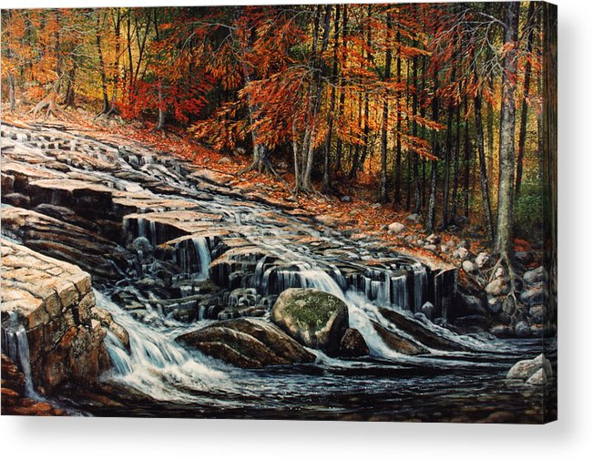 Landscape Acrylic Print featuring the painting Autumn Cascade by Frank Wilson