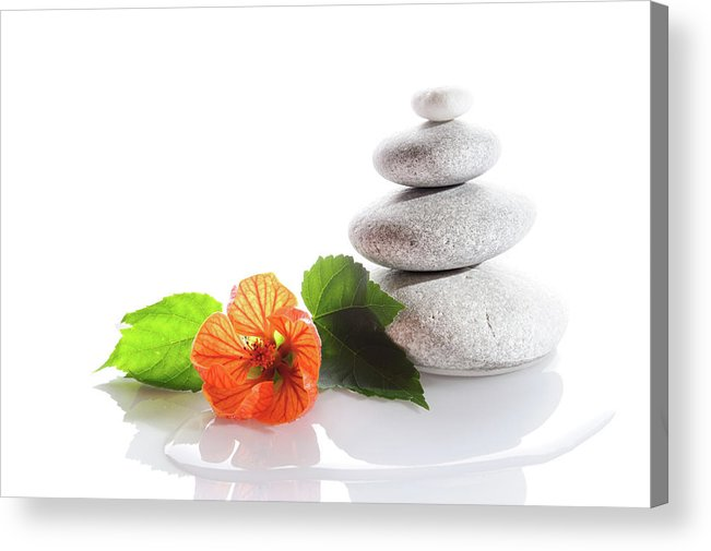 Horizontal Acrylic Print featuring the photograph Balanced Stones And Red Flower by Gunay Mutlu