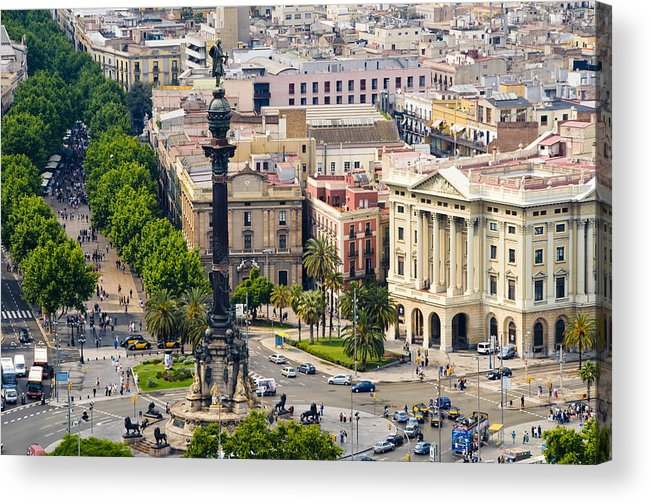 Day Acrylic Print featuring the photograph Barcelona With Tree-lined Las Ramblas by Annie Griffiths