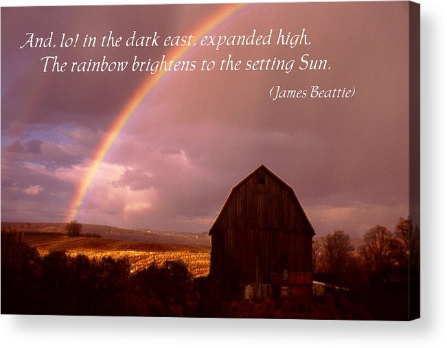 Poster Acrylic Print featuring the photograph Barn And Rainbow Poster by Roger Soule