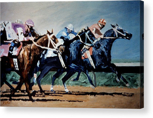 Horse Racing Acrylic Print featuring the painting Black To Win by Randy Patton