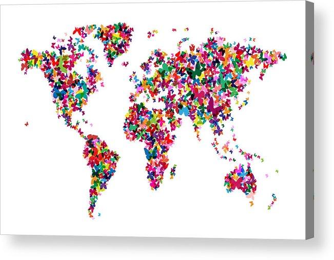 World Map Acrylic Print featuring the digital art Butterflies Map Of The World by Michael Tompsett