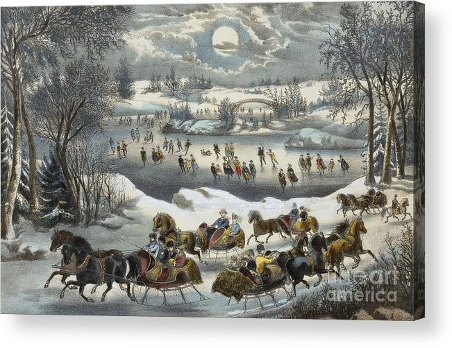 Print Acrylic Print featuring the painting Central Park In Winter by Currier and Ives