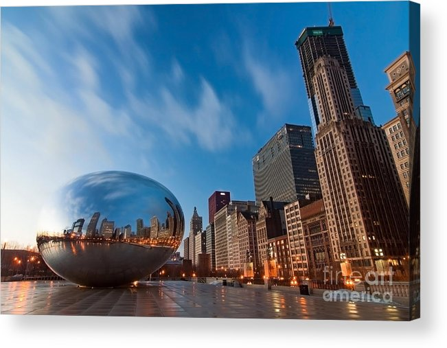 Chicago Skyline Acrylic Print featuring the photograph Chicago Skyline And Bean At Sunrise by Sven Brogren