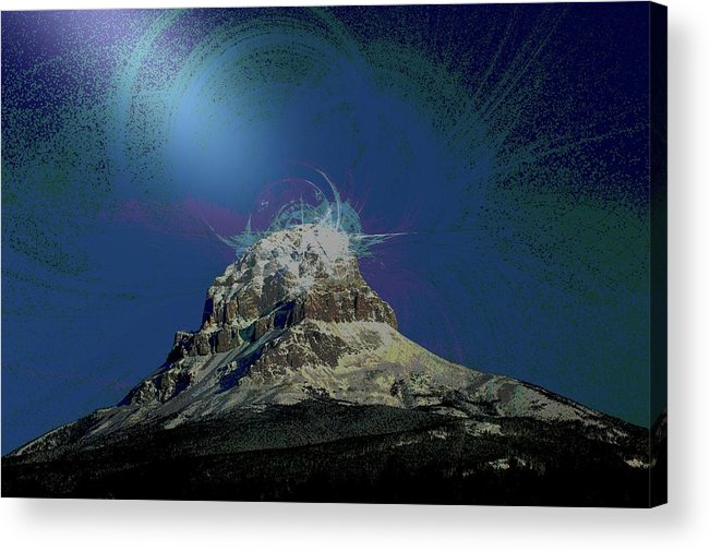 Abstract Acrylic Print featuring the photograph Crowsnest Mountain by Jeff Swan