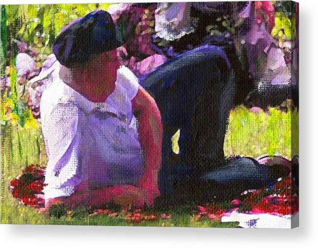 Lake Acrylic Print featuring the painting Detail Of Picnic By The Lake by Randy Sprout