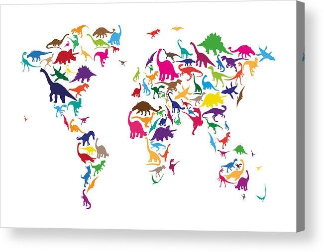 World Map Acrylic Print featuring the digital art Dinosaur Map Of The World Map by Michael Tompsett