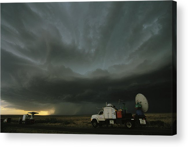 Outdoors Acrylic Print featuring the photograph Doppler On Wheels Radar Trucks Wait by Carsten Peter