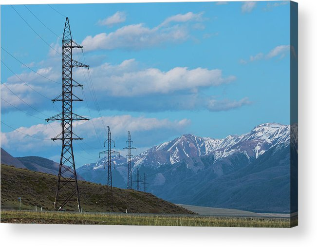 Air Acrylic Print featuring the photograph Electric Power Transmission Pylons On Inner Mongolia Grassland At Sunrise by Oleg Yermolov