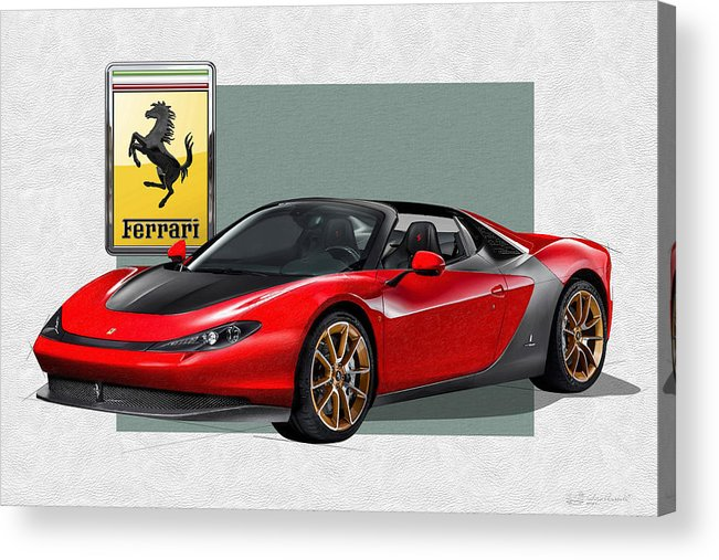 �ferrari� Collection By Serge Averbukh Acrylic Print featuring the photograph Ferrari Sergio With 3d Badge by Serge Averbukh