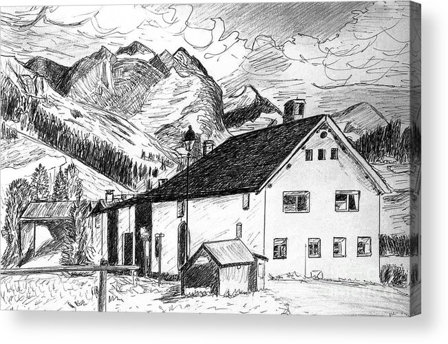 Switzerland Acrylic Print featuring the drawing Fextal Switzerland by Monica Engeler