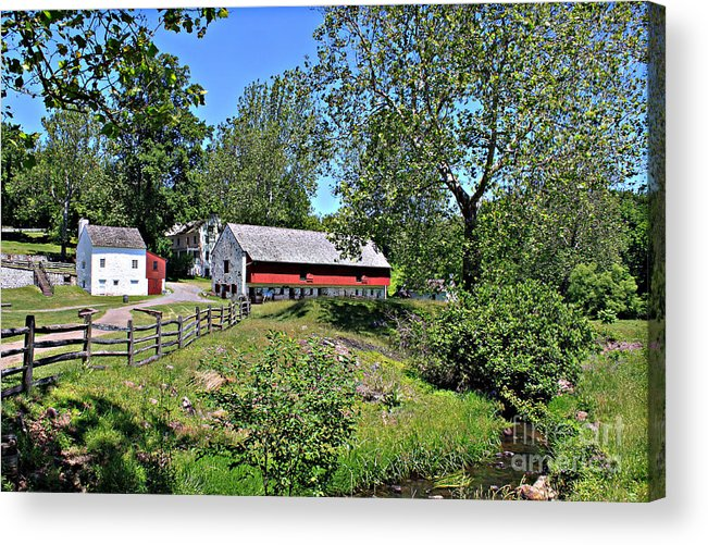 Hopewell Acrylic Print featuring the photograph Hopewell Village And Stream by Robert Sander