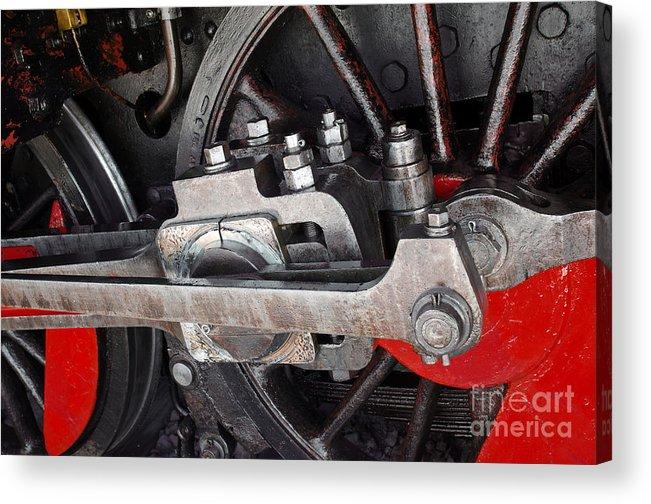 Antique Acrylic Print featuring the photograph Locomotive Wheel by Carlos Caetano
