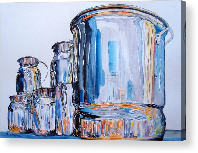 Shiny Metal Acrylic Print featuring the painting Metalica II by Patrick DuMouchel
