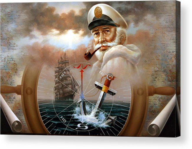 sea Captain Acrylic Print featuring the painting News Map Captain 2 Or Sea Captain by Yoo Choong Yeul