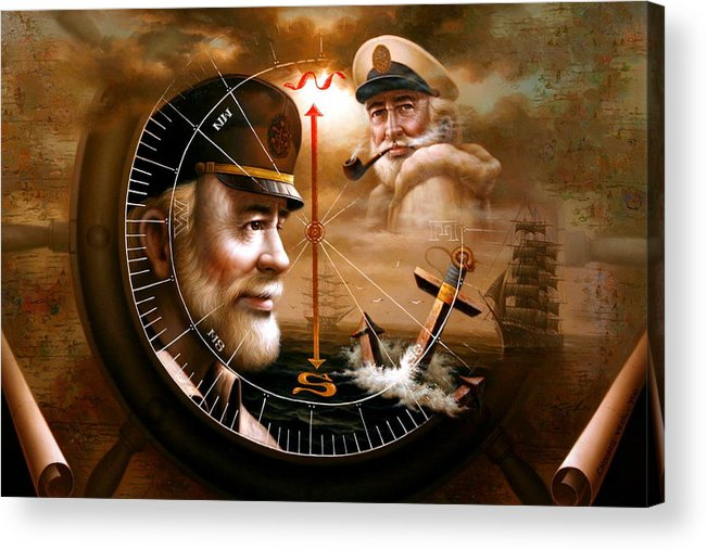 Sea Captain Acrylic Print featuring the painting News Two Map Captain Or Two Sea Captain by Yoo Choong Yeul
