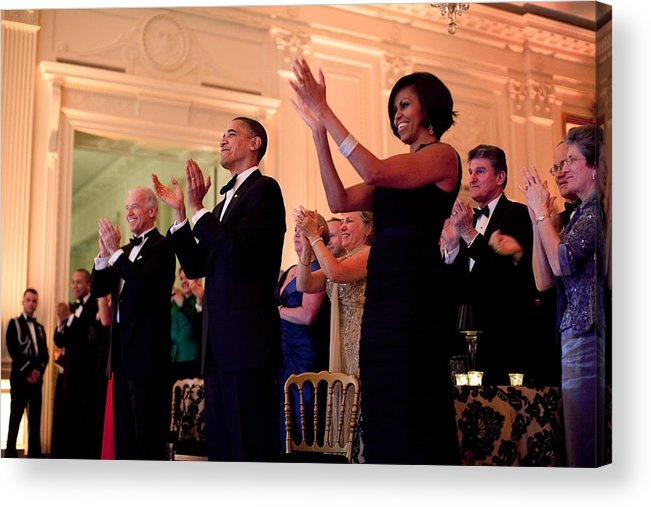 History Acrylic Print featuring the photograph President And Michelle Obama Applaud by Everett