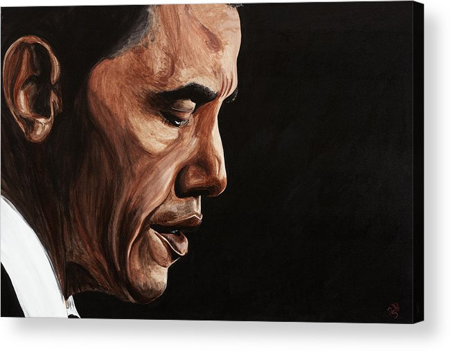 Portrait Acrylic Print featuring the painting President Barack Obama Portrait by Patty Vicknair