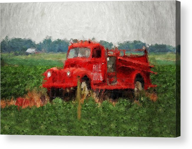 Fire Acrylic Print featuring the painting Red Fire Truck by Michael Thomas