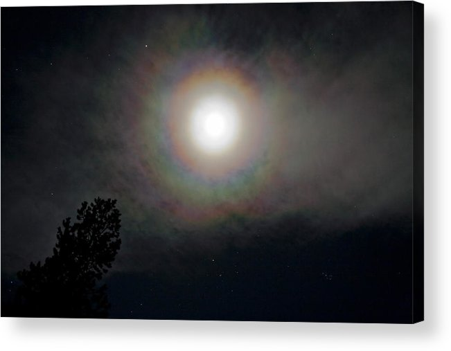 Horizontal; Moon; Moon & Stars; Night; Night Sky; Oregon Cacasdes; Rings Around The Moon; Sky; Winte Acrylic Print featuring the photograph Rings Around The Full Moon  by John Higby