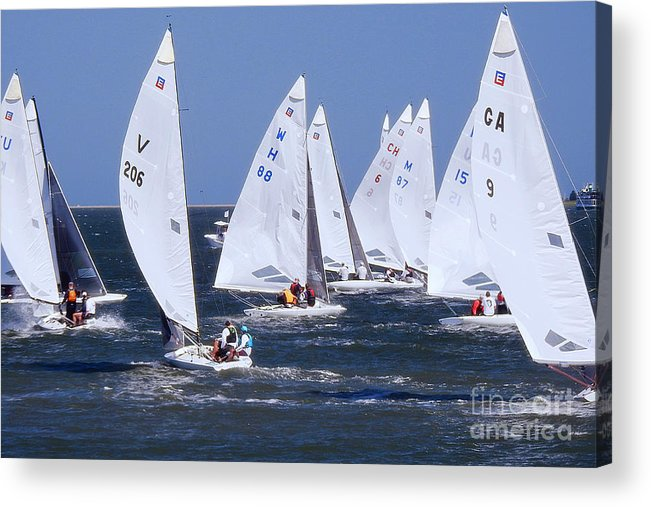 E-scows Acrylic Print featuring the photograph Sailboat Championship Racing by Scott Cameron