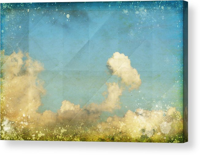 Abstract Acrylic Print featuring the photograph Sky And Cloud On Old Grunge Paper by Setsiri Silapasuwanchai