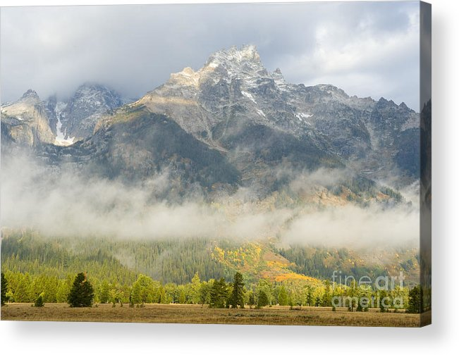 Grand Teton National Park Acrylic Print featuring the photograph Storm On Grand Teton by Sandra Bronstein