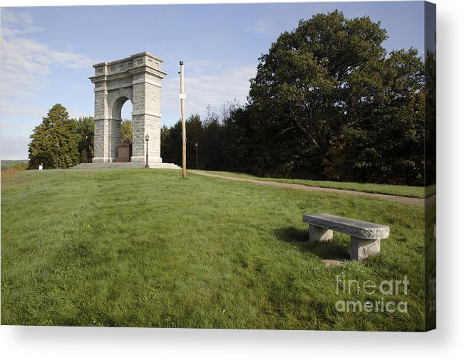 Granite Acrylic Print featuring the photograph Titus Arch Replica - Northfield Nh Usa by Erin Paul Donovan