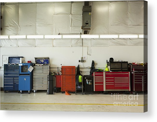 Auto Acrylic Print featuring the photograph Tool Chests In An Automobile Repair Shop by Don Mason