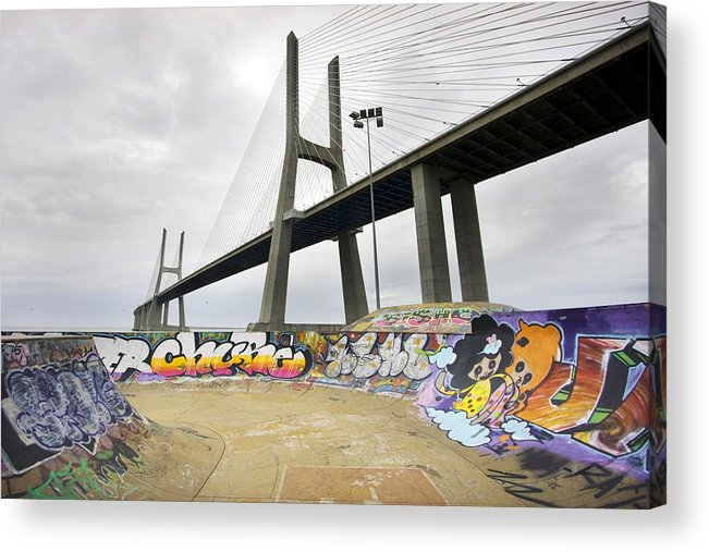 Clouds Acrylic Print featuring the photograph Vasco Da Gama Bridge by Andre Goncalves