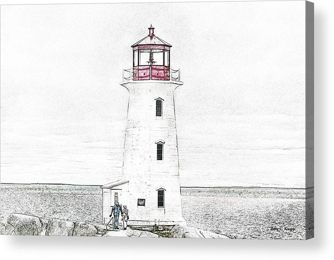 Lighthouse Acrylic Print featuring the mixed media You're My Beacon Peggy's Cove Lighthouse by Betsy Knapp