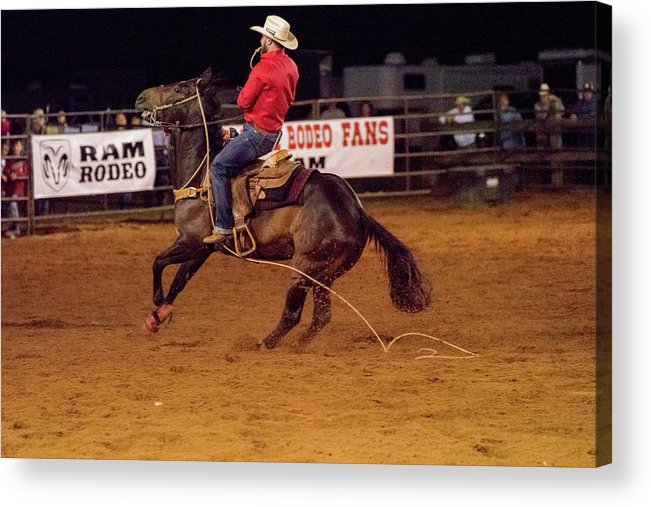 Rodeo Acrylic Print featuring the photograph Steer Roping by Glenn Matthews