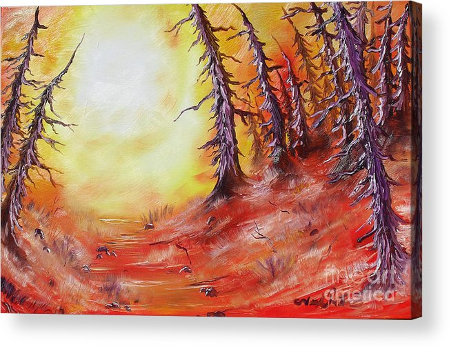 Abstract Acrylic Print featuring the painting 16 Trees by Joseph Palotas