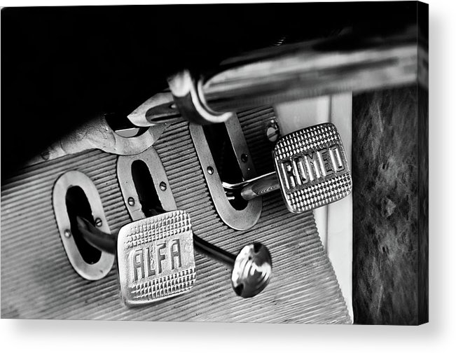 1931 Alfa Romeo 6c 1750 Gran Sport Aprile Spider Corsa Pedals Acrylic Print featuring the photograph 1931 Alfa Romeo 6c 1750 Gran Sport Aprile Spider Corsa Pedals -3689bw by Jill Reger
