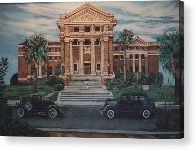 Architecture Acrylic Print featuring the painting 1936 Era Nueces County Courthouse by Diann Baggett