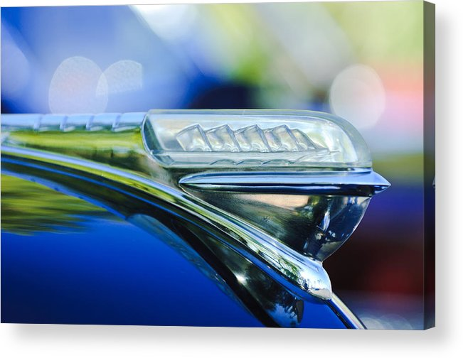 1948 Plymouth Acrylic Print featuring the photograph 1948 Plymouth Hood Ornament by Jill Reger
