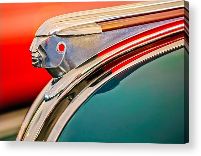 1948 Pontiac Streamliner Acrylic Print featuring the photograph 1948 Pontiac Chief Hood Ornament by Jill Reger