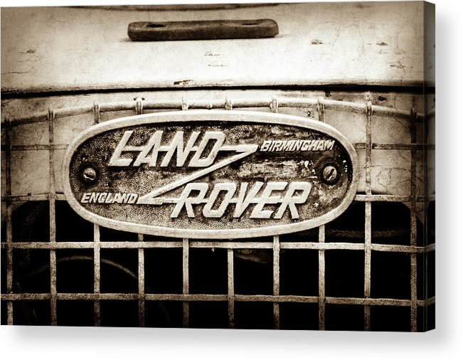1952 Land Rover 80 Grille Emblem Acrylic Print featuring the photograph 1952 Land Rover 80 Grille Emblem -0988s2 by Jill Reger