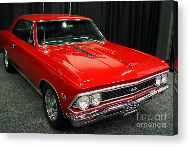 Transportation Acrylic Print featuring the photograph 1966 Chevy Chevelle Ss 396 . Red . 7d9278 by Wingsdomain Art and Photography