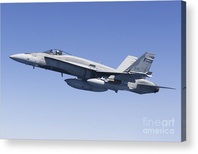 Libya Acrylic Print featuring the photograph A Cf-188a Hornet Of The Royal Canadian by Gert Kromhout
