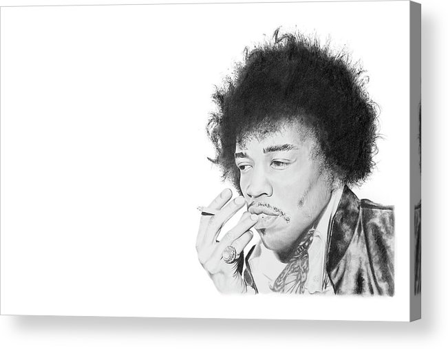 Hendrix Acrylic Print featuring the drawing Jimi Hendrix by Don Medina