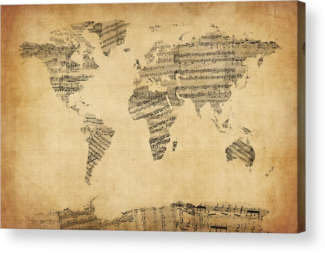 World Map Acrylic Print featuring the digital art Map Of The World Map From Old Sheet Music by Michael Tompsett