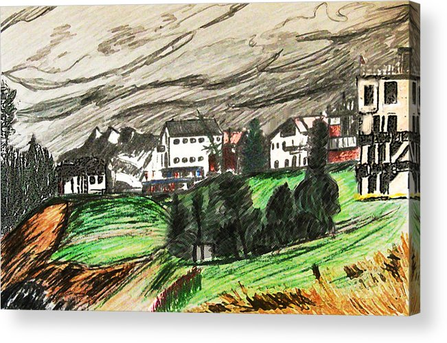 Realism Acrylic Print featuring the drawing Pontresina Switzerland by Monica Engeler