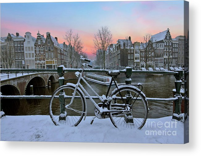 Sunset Acrylic Print featuring the photograph Sunset In Snowy Amsterdam In The Netherlands In Winter by Nisangha Ji