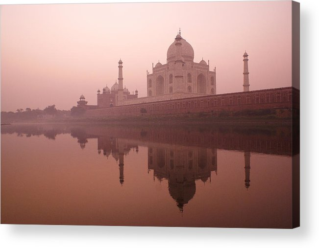 Taj Mahal Acrylic Print featuring the photograph Taj Mahal At Dawn by Michele Burgess