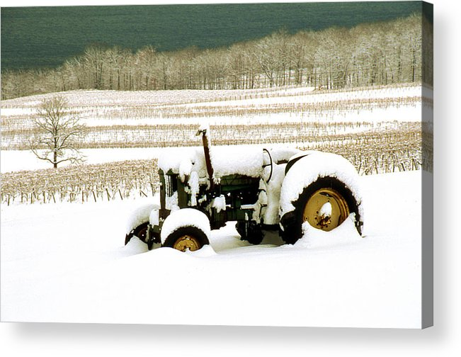 Acrylic Print featuring the photograph Tractor In Snowy Vineyard by Roger Soule