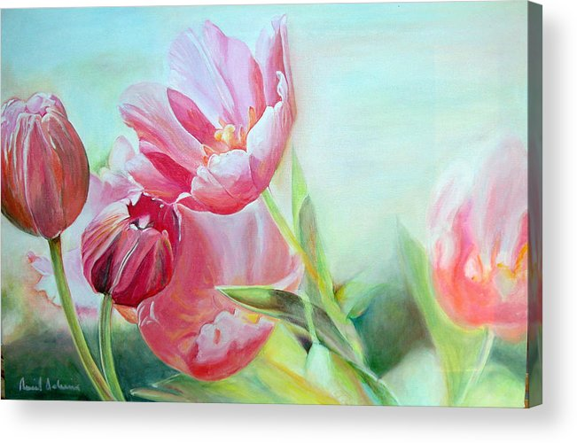 Floral Painting Acrylic Print featuring the painting Tulipes by Muriel Dolemieux